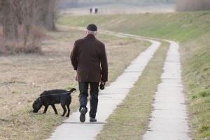 A man who used to have lower back pain, walking his dog in the park