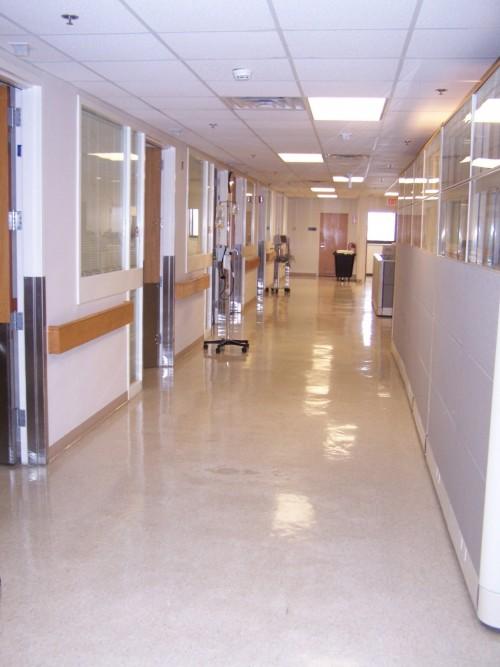 An operating area corridor at The Heilman Center